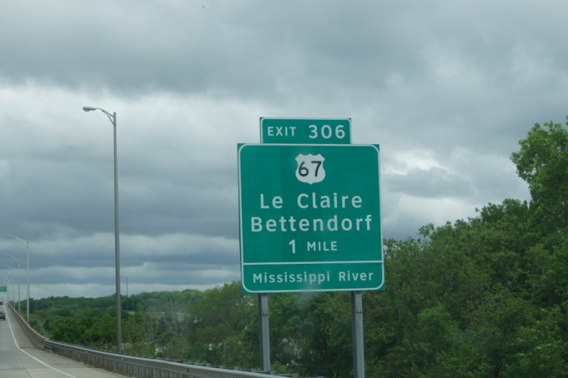 "This sign is on the Illinois side of the Mississippi River. Le Claire is the location of Antique Archaeology on ""American Pickers"""
