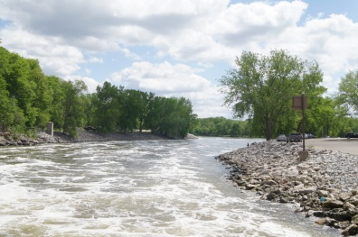 Water flows into the Iowa River