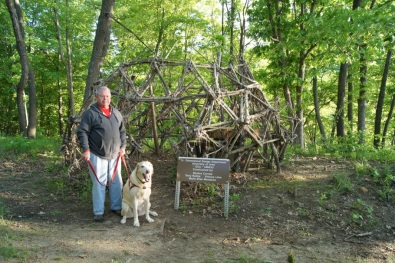 This interesting structure on the Woodpecker Trail was created by University of Iowa students