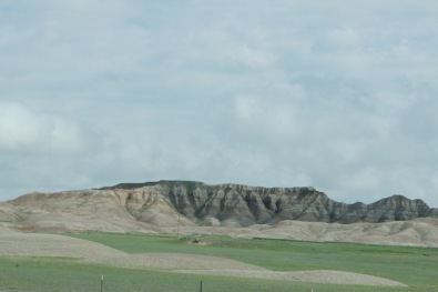 Driving by the Badlands on I-90 in South Dakota