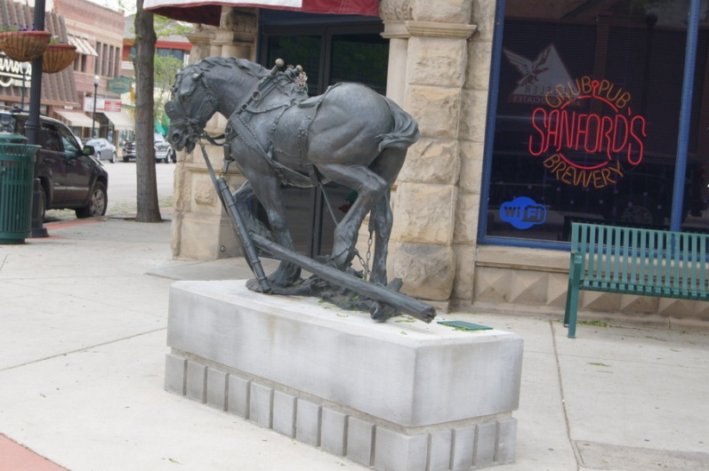 One of many sculptures on Main Street.
