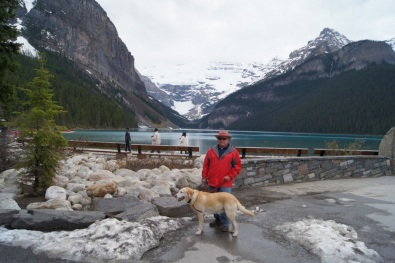 Henry and Blondie at Lake Louise