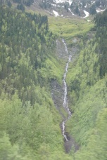 Snow melt cascading down one of the mountains