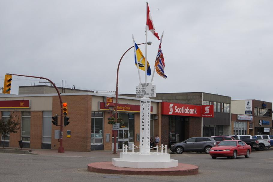 Historic Mile Zero Marker in downtown Dawson Creek, BC