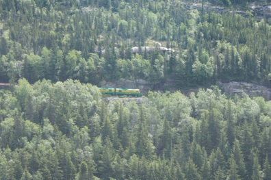Watching the train go by from one of the overlooks on the Klondike Highway