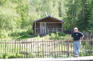 "At the Robert Service Cabin. He wrote several books of poems including ""The Cremation of Sam McGee"""
