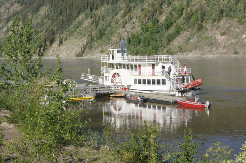 During the Klondike Gold Rush, prospectors traveled up the Yukon river to Dawson city by riverboat.