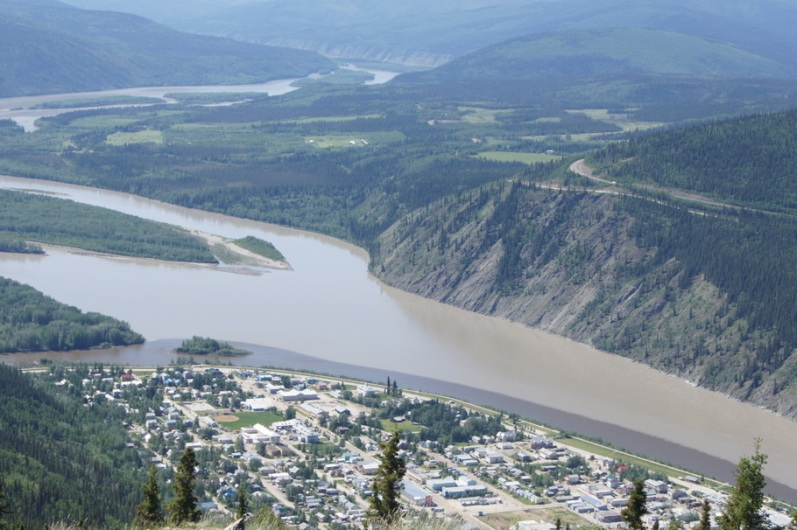 Dawson City and Yukon River from atop Midnight Dome