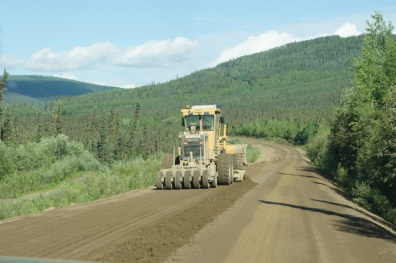 Road construction for several miles on the Dalton Highway