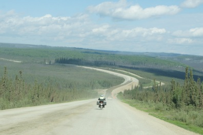 Behind a motorcycle on the Dalton Highway