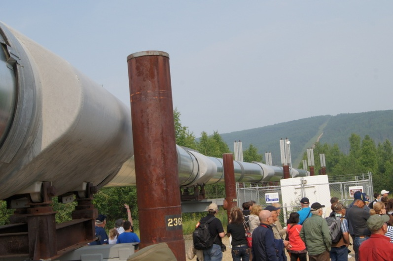 We passed under the pipeline as we finished the tour. You can see where it goes up the hill in the distance.