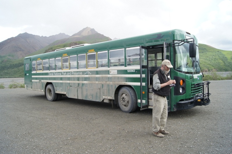 Our bus driver Ken waits for us at the Toklat River rest area