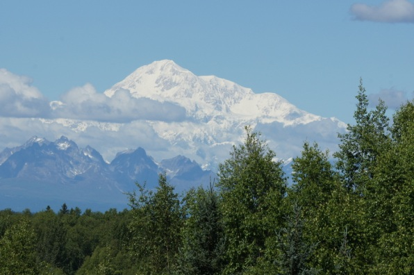 Finally! A beautiful view of Mt. McKinley from the Talkeetna overlook as we entered the town of Talkeetna