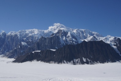The high round snow covered peak is the south peak of Mt. McKinley