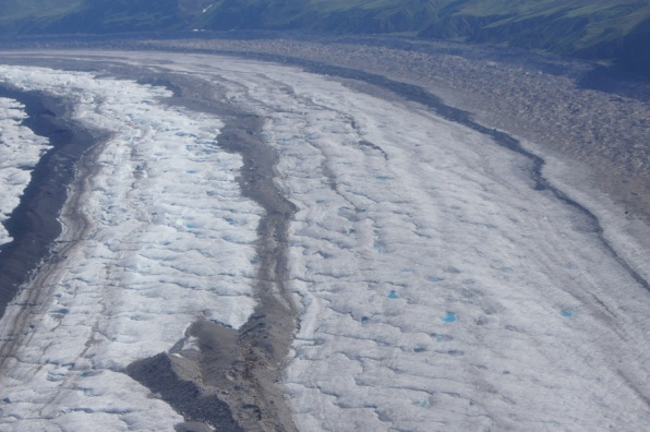 Flying over the glacier
