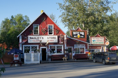 Downtown Talkeetna. We ate at the West Rib Pub for dinner last night
