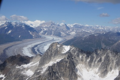 The Ruth Glacier is in the gorge between the mountains