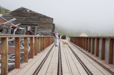 Henry and Blondie exploring the Independence Mine in Alaska