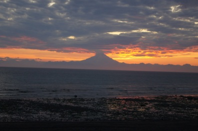 Mount Redoubt sunset in Ninilchik, Alaska