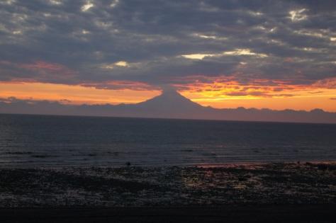 Mount Redoubt sunset in Ninilchik, Alaska