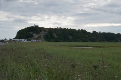 View of the marsh and the bluff at the mouth of Deep Creek