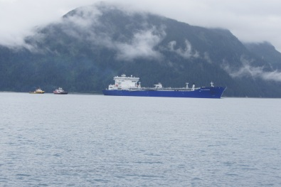 An oil tanker leaving Valdez