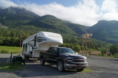 We could see Dall Sheep on the mountain behind the RV
