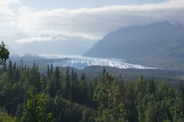 View of Mantanuska Glacier from overlook on Glenn Highway