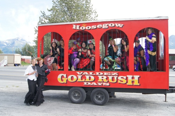 Gold Rush Days in Valdez during the Friday night Wine Walk around town.