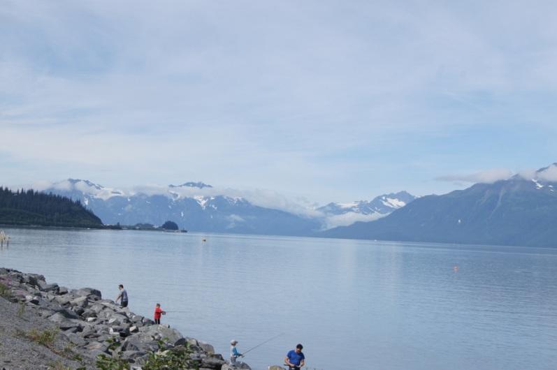 Fishing for salmon across the bay from Valdez