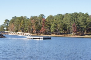 Floating dock next to the boat ramp