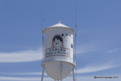 Even the water tower in Harlem honors Oliver Hardy