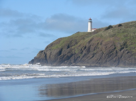 North Head Lighthouse seen from beach at Cape Disappointment State Park, Washington