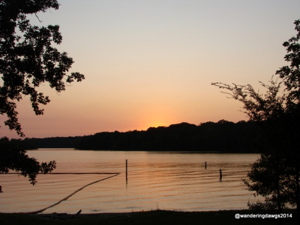 Sunset over J. Percy Priest Lake from Seven Points Campground
