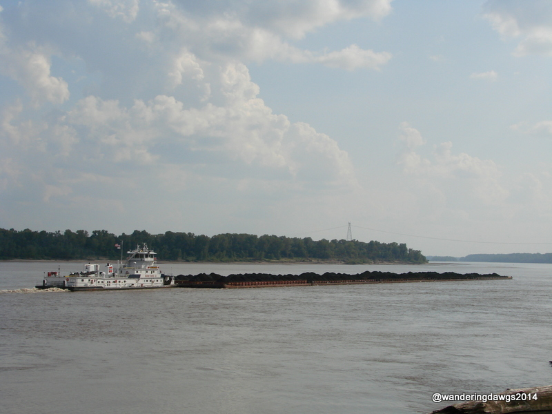 Coal barge going down the Mississippi River from our campsite at Tom Sawyer RV Park