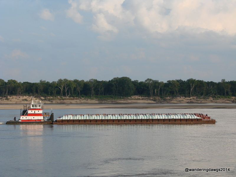 Barge on the Mississippi River at Tom Sawyer RV Park in West Memphis, Arkansas