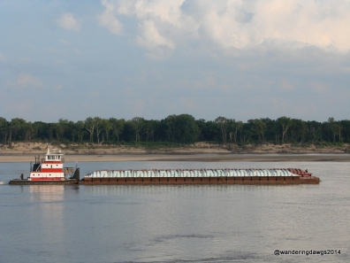 We sat in our campsite and watched barges on the Mississippi River at Tom Sawyer RV Park in West Memphis, Arkansas