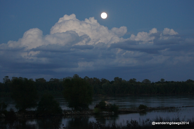 Moon rising over the Mississippi River