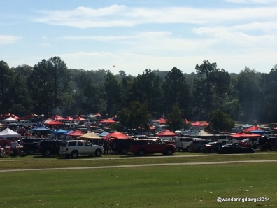 Tailgating on a golf course next to War Memorial Stadium in Little Rock