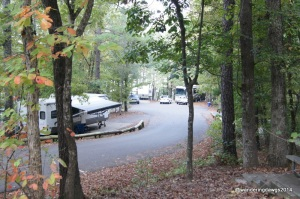 We had to make this tight turn and go down the hill to turn around before we could exit the campground