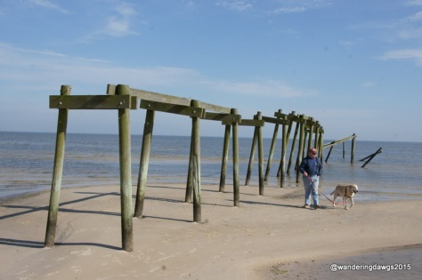 Walking along the beach in Waveland, Mississippi