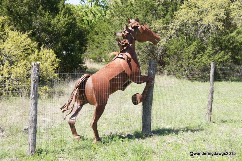 Sculpture at the entrance to a ranch