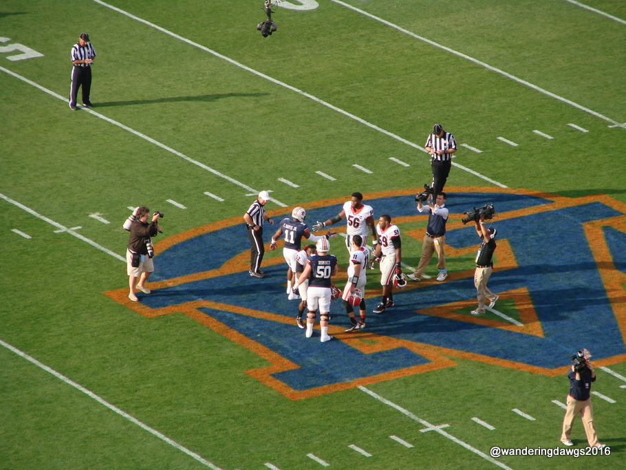 The Auburn University logo at Jordan Hare Stadium