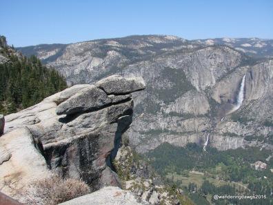 Overhanging Rock with Yosemite Falls in Yosemite National Park