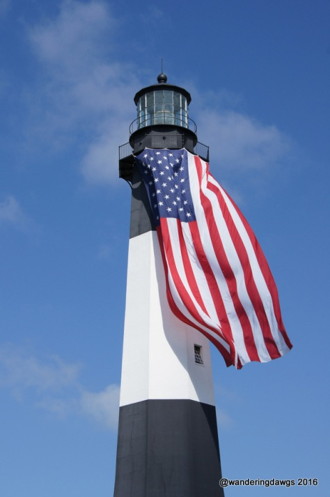 The Tybee Island Light Station displays the American Flag in celebration of Independence Day