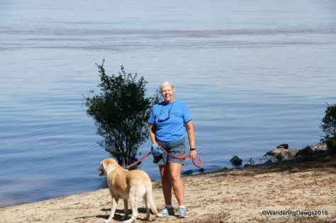 Beth and Blondie beside the mighty Mississippi