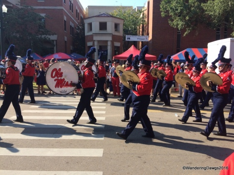 The Ole Miss band marched by before the game