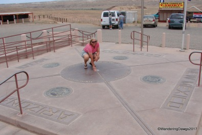 Four Corners - the states of Arizona, New Mexico, Colorado and Nevada meet here. It is the only place in the U.S. shared by four states