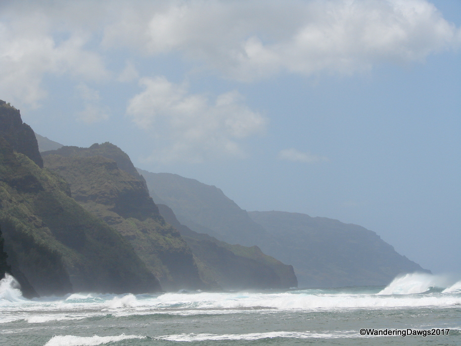 View of the Na Pali Coast from the beach on Kauai