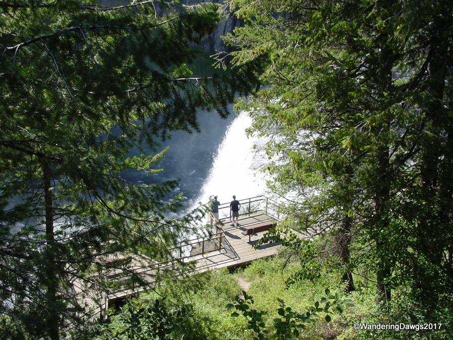 Stairs lead to a viewing platform atUpper Mesa Falls, Idaho